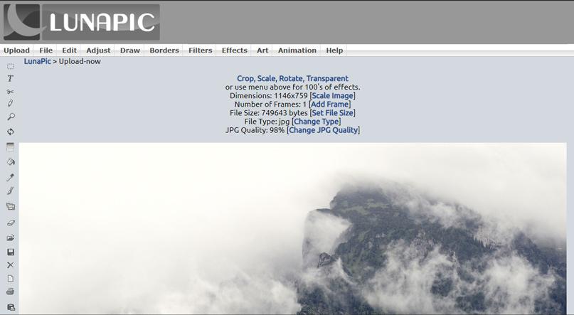 Lunapic - Phần mềm chỉnh sửa ảnh miễn phí