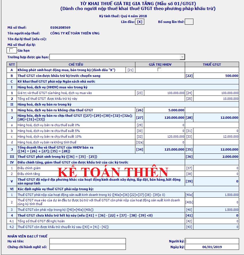 Mẫu tờ khai thuế GTGT theo phương pháp khấu trừ 01/GTGT