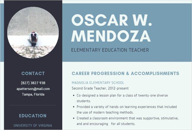 Mẫu resume đơn giản dành cho giáo viên