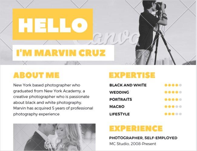 Mẫu resume màu vàng sáng tạo dành cho nhiếp ảnh gia