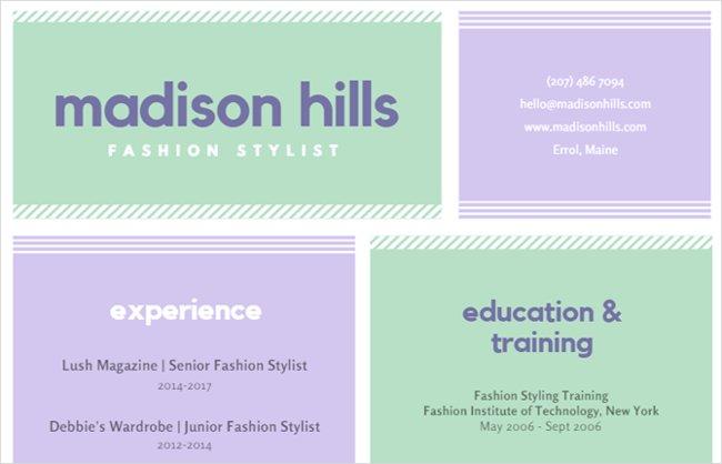 Mẫu resume màu sắc dành cho nhà thiết kế thời trang