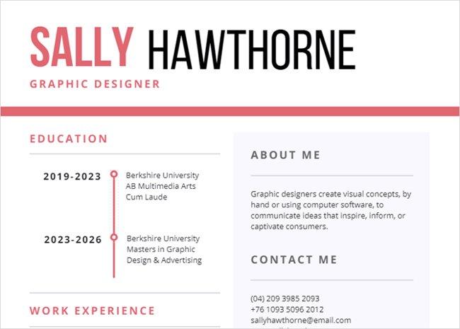 Mẫu resume trắng và hồng dành cho doanh nghiệp