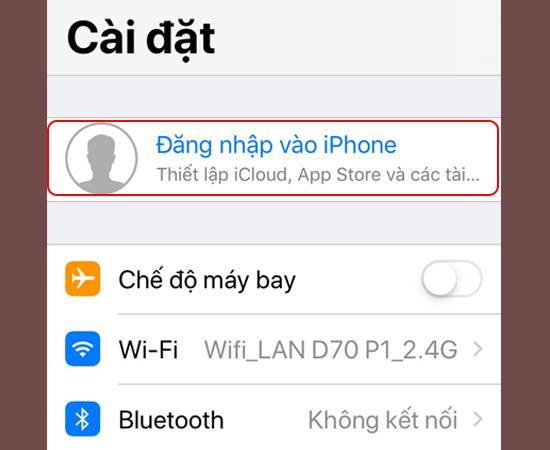 Bước 1: Đầu tiên vào Cài đặt -> Chọn Đăng nhập vào iPhone.