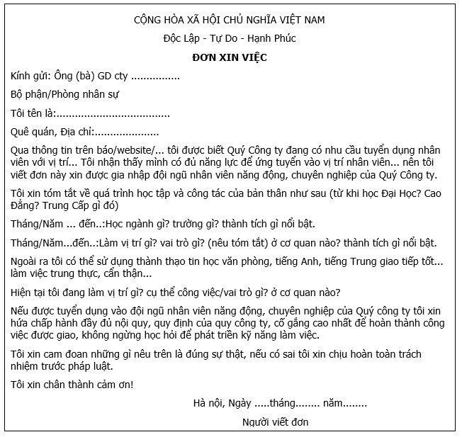 Mẫu đơn xin việc viết tay 1